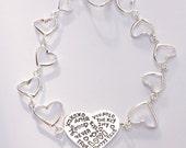 Silver Heart Message Bracelet, Heart Linked Bracelet, Heart and Arrow Toggle Clasp, Sterling Silver Bracelet, Valentine's Day Gift