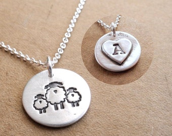 Personalized Small Mother and Twin Sheep Necklace, New Mom, Twin Jewelry, Two Children, Fine Silver, Sterling Silver Chain, Made To Order