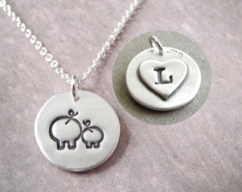 Personalized Small Mother and Baby Pig Necklace, New Mom Necklace, Pig Monogram, Fine Silver, Sterling Silver Chain, Made To Order