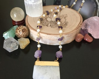 SALE! Crystal and Amethyst Handlinked Necklace