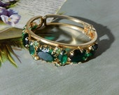 JULIANA Large Green Stone Hinged Clamper Cuff Bracelet