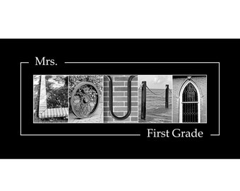 Teacher's Gift - Personalized Alphabet Letter Photography  - Black and White Photo Letters 10x20 (unframed)