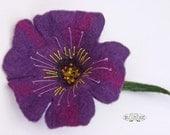 Violet flower brooch hand felted corsage felt flower