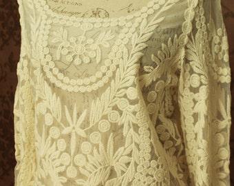 Lace blouse, off white ivory black Victorian inspired lolita shirt boho chic steampunk blouse bridal vintage wedding
