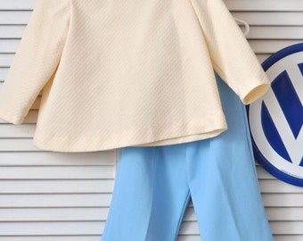Vintage 70's Girls Pantsuit/Two Piece with Top & Bell Pants/Brady Girl Costume Theater/Handmade OOAK/Blue Cream/Child's size 5 or 6 Retro