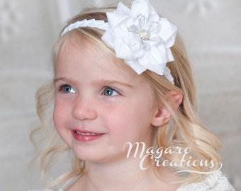 Baby headband,kanzashi,white headbands,Christening headband,baptism headband,baby bow headband,flower headband,newborn headband,10