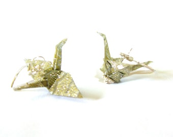 NEW! Peace Crane Earrings Sterling Sparkling Gold Champagne Fabric Origami Crane Earrings