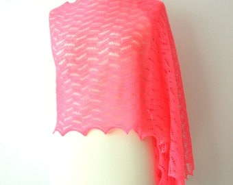 ON SALE 20% OFF pink lace shawl, fine lace wrap, wedding cover up, delicate wool, knitted lace stole