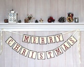 Merry Christmas Banner - Paper Christmas Garland - Christmas Decoration - Holiday Decoration - Mantel Decor - Christmas Party Decor