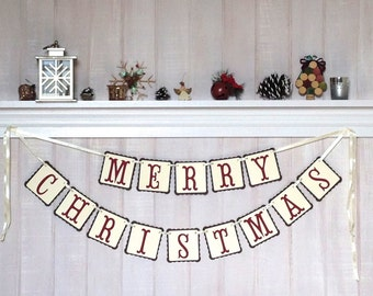 Christmas Decoration - Merry Christmas Banner - Paper Christmas Garland - Christmas Decoration - Holiday Decoration - Mantel Decor - Christ