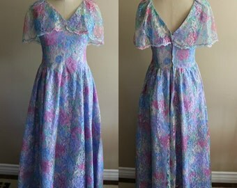 90's Floral Rainbow Pastel Lace Prom Bridesmaid Dress - Size Small - Watercolor - Special Occasion