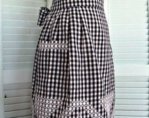 Vintage Chicken Scratch Embroidery Half Apron-Black gingham-FREE SHIPPING in US