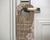 Wedding Door Hangers with Wood Planks and Lace - Set of 10 Custom Door Tags for Hotel Guests