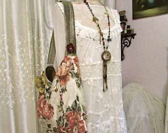 Large Boho Bag, bohemian bag, soft thick floral fabric, short shoulder bag strap, slouchy hippie bag, beads tassel fringe, large hobo bag
