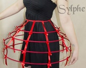 Red color Crinoline hoop skirt pannier 4 rows elastic waist and satin ribbon cage