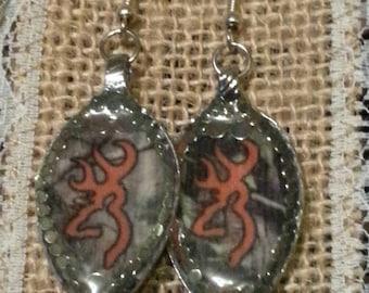 Browning Deer Earrings, Deer Earrings, Deer head earrings, souvenir spoon resin earrings, hunting jewelry, Resin jewelry