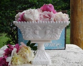 Milk Glass Centerpiece / Vintage Westmoreland Beaded Grape Compote