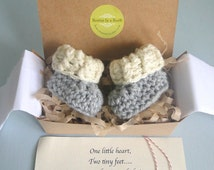 Grandparent Pregnancy Announcement, BOOTIES IN A BOX® Ribbed Cuffs with Optional Wood Buttons, Newborn Baby Booties,  Personalized Message