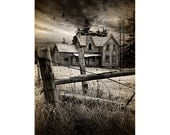 Gothic looking Abandoned Old Farm House with Fence Posts with Flying Crows in Ontario Canada in No.FA43 Fine Art Toned Photograph