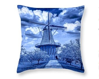 Delft Blue Throw Pillow of the Dutch Windmill the DeZwaan on Windmill Island No.BL112 decorative novelty pillow Home Décor cushion cover