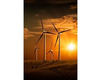 Wind Turbines in Alberta Canada at Sunset in a Farm Field No.19453 a Color Landscape Windmill Photograph