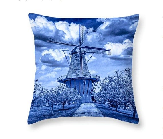 Delft Blue Throw Pillow of the Dutch Windmill the DeZwaan on