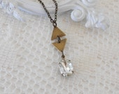 Crystal Necklace, Art Deco Necklace, Art Deco Pendant, Old Hollywood, Estate Jewelry, Geometric Jewelry, Triangle Necklace, Layering