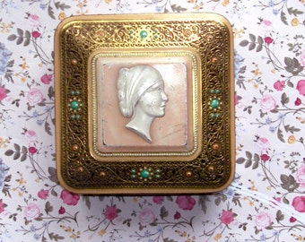 Vintage 70s tin square cameo lady box, gold tone, pink, pearly white with stones in teal and red jewelry box, vanity, feminine, victorian