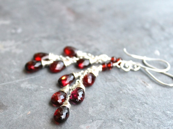 Garnet Earrings Cascade Earrings Romantic Long Dangling Red Gemstone Earrings Sterling Silver Gemstone Jewelry