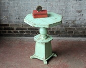 Entry Table Octagonal Reclaimed Plant Stand India Moroccan Green Side Table Cottage Chic Table Boho Decor Fern Stand Occasional Table