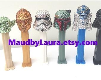 Darth Vader, C3PO, R2D2, Yoda, Stormtrooper and Boba Fett Swarovski rhinestone encrusted Pez Dispensers