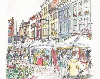 Findlay Market Shopping, Cincinnati - print from an original watercolor sketch