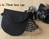 Lens Cap Holder for DSLR Camera Strap - Solid Black, Up to 77mm Lens Cap - Ready to Ship