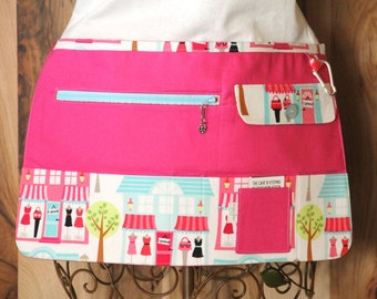 Vendor Apron, Utility Apron, Teacher Apron - Bright Pink with Shops - Ready to Ship