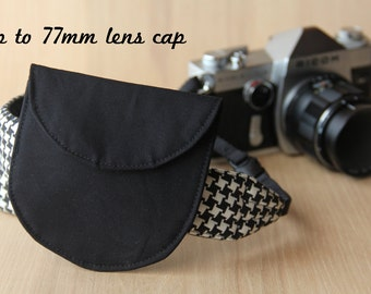 Lens Cap Holder for DSLR Camera Strap - Solid Black, Up to 77mm Lens Cap - Ready to Ship
