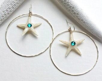 Large Beach Earrings, Starfish Hoops, Real Starfish Earrings, Extra Large Gold Hoops, Boho Beach Hoop Earrings:  Ready to Ship