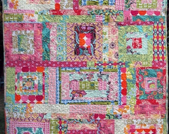Crazy Log Cabin Lap Quilt or Wheel Chair Quilt