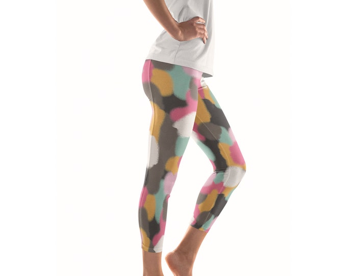 No Mud No Lotus Artist Leggings // ethical bold stylish yoga pants designer leggings and capris in abstract painted patterns by lisa barbero