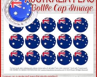 AUSTRALIA FLAG Bottle Cap Image, Aussie Printable, Inchie, 1-Inch Circle, Digital Collage, World Flags -Printable Instant Download