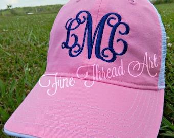 Ladies Trucker Monogram Mesh Back Baseball Cap Hat Mom Bridesmaid Bride Bachelorette Summer Beach Hat Trucker Hat
