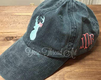 LADIES Buck and Bow with Side Monogram Baseball Cap Hat LEATHER strap Mom Bridesmaid Bride Bachelorette Pigment Dyed Outdoor Hunting Deer