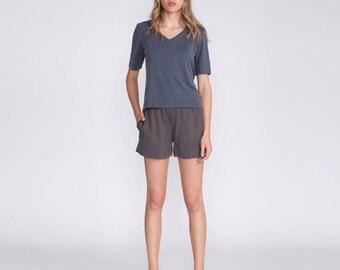 Women shirt, V neck blouse, gray top, t shirt, casual shirt, gray shirt, viscose shirt, short sleeve, crop top, summer top, basic, day wear