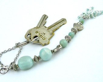 Scissors Fob, Amazonite Semi Precious Stones, Silver, Key or Purse Fob, DIY Crafts, Needlecrafts, Sewing, Gift for Needleworkers, Handmade