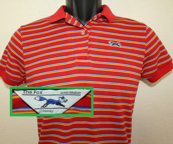 Jcpenney the fox vintage youth polo shirt junior medium 80s for Jcpenney ladies polo shirts