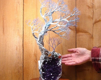 Wire Tree Of Life sculpture, blue white Spirit of Light Tree, Uruguay Amethyst Geode, home decor, special gift, unique original art, 18""