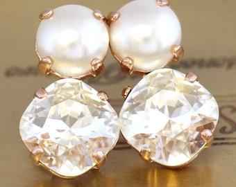 Pearl  Studs Earrings,Swarovski Crystal Studs,White Clear Crystal Earrings,Bridal Pearl Earrings,Bridesmaids Earrings,Pearl Crystal Studs