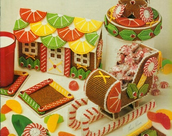 GINGERBREAD LAND Annie's Attic Plastic Canvas Holiday Pattern Book
