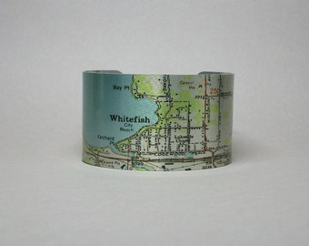 Whitefish Montana Map Cuff Bracelet Unique Hometown City Gift for Men or Women