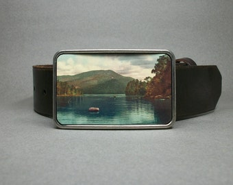 Belt Buckle Row Boat Canoe on the Lake Wilderness Unique Gift for Men or Women