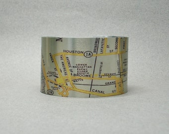 New York City Cuff Bracelet NYC Map Little Italy Chinatown Unique Gift for Men or Women